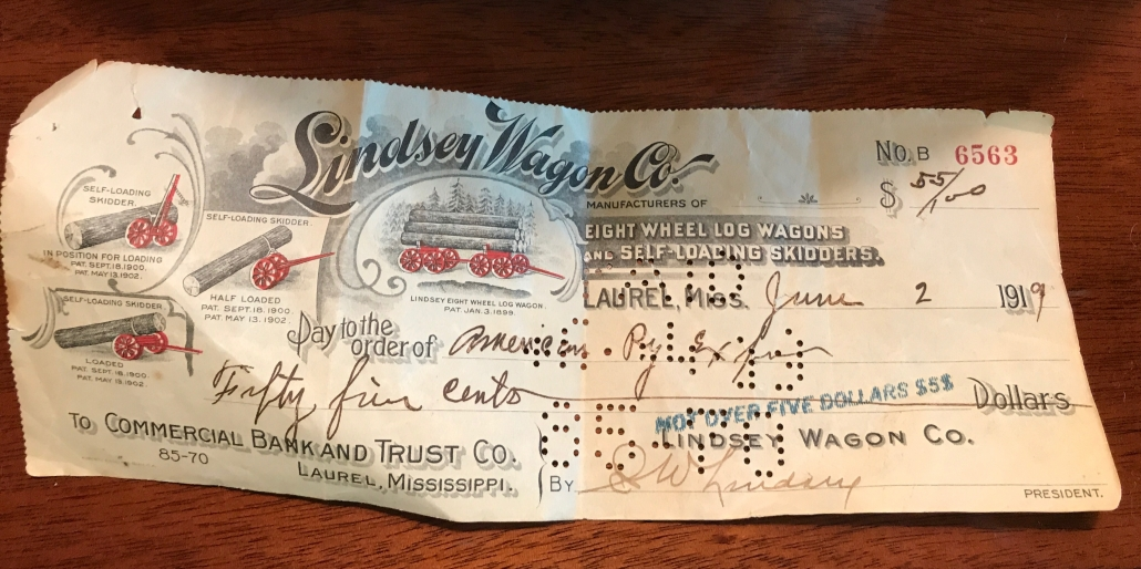 Lindsey Wagon Co. Payroll Check